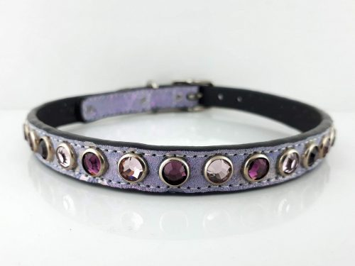 Dog collar All Swarovski in lavender pearl Italian leather with amethyst and light amethyst Swarovski crystals