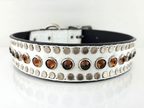 Dog collar All Swarovski in white Italian crocko leather with smoke Swarovski crystals