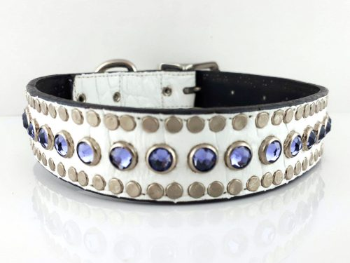 Dog collar All Swarovski in white Italian crocko leather with velvet Swarovski crystals