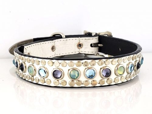Dog collar All Swarovski in white Italian leather with amethyst sea foam, aqua and velvet crystals