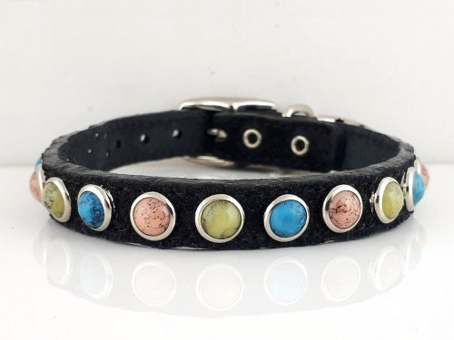 Dog Collar All Turquoise in black Italian leather with salmon, green and blue turquoise