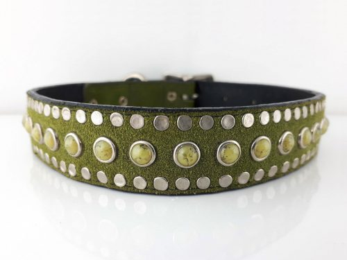 Dog Collar All Turquoise in Italian leather and green suede with green turquoise