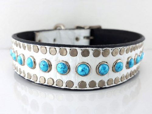 Dog Collar All Turquoise in white Italian crocko leather with blue turquoise