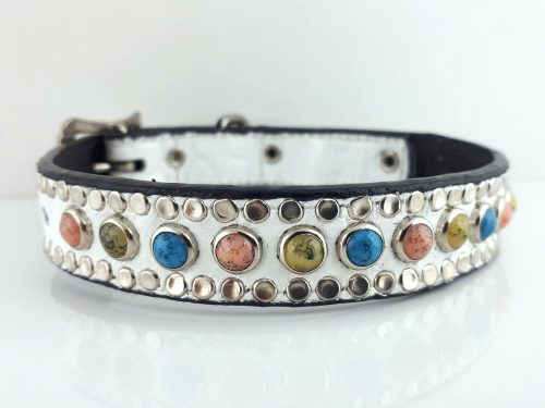 Dog Collar All Turquoise in white Italian crocko leather with salmon, green and blue turquoise