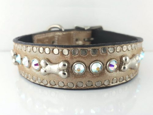 Dog Collar Bone & Crystal in champagne metallic Italian leather with AB Swarovski crystals