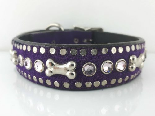 Dog Collar Bone & Crystal in Italian leather and purple suede with light amethyst Swarovski crystals