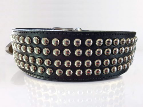 Dog Collar Brutus in black Italian leather with studs
