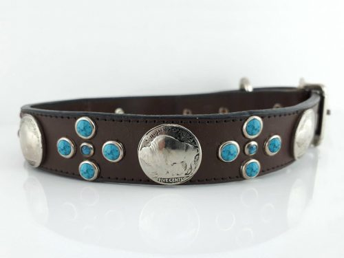 Dog Collar Buffalo Cross in brown Italian leather with red & blue turquoise