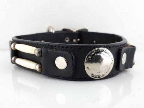 Dog Collar Cheyenne in black Italian leather with bone hair pipe and buffalo nickels