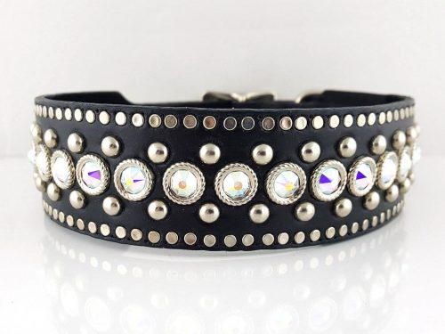 Dog collar Crystal Monster in black Italian leather and AB Swarovski crystals
