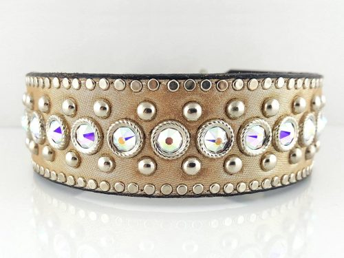 Dog Collar Crystal Monster in champagne metallic Italian leather and AB Swarovski crystals