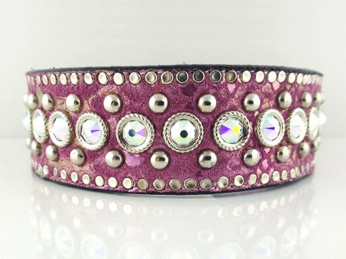 Dog Collar Crystal Monster in Italian leather and pearl pink suede with AB Swarovski crystals