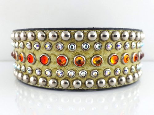 Dog collar Diva in Italian leather and green crocko suede (will be replaced with olive suede) with fire opal & AB Swarovski crystals