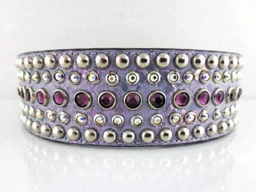 Dog collar Diva in Italian leather and lavender pearl suede with amethyst and AB Swarovski crystals