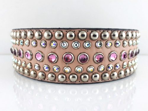 Dog collar Diva in pink Italian leather with rose and AB Swarovski crystals