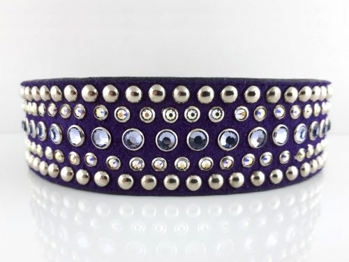Dog collar Diva in Italian leather and purple suede with velvet and AB Swarovski crystals