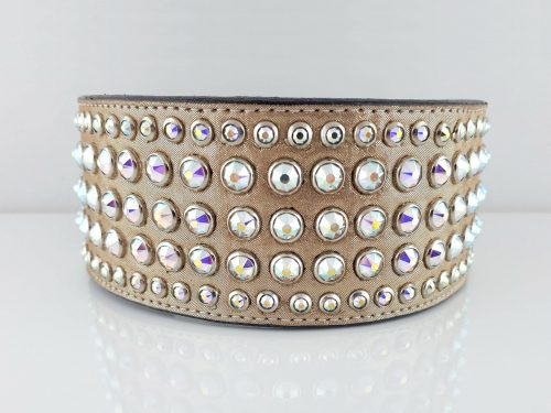 Dog collar Diva in champagne metallic Italian leather with five rows of AB Swarovski crystals