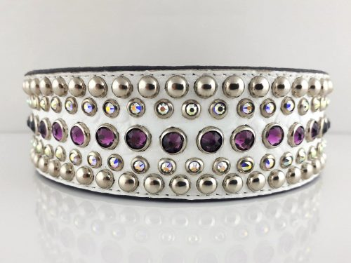 Dog collar Diva in white Italian crocko leather with amethyst and AB Swarovski crystals