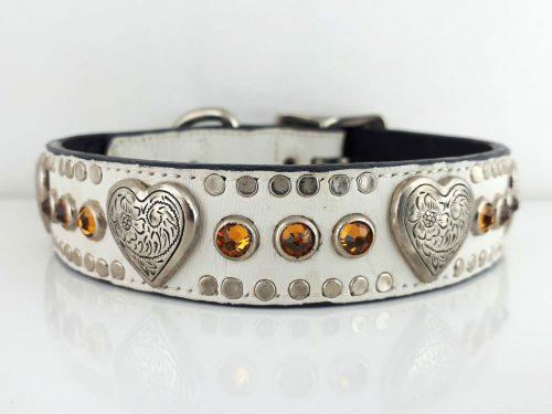 Dog Collar Heart & Crystal in white Italian crocko leather with topaz Swarovski crystals