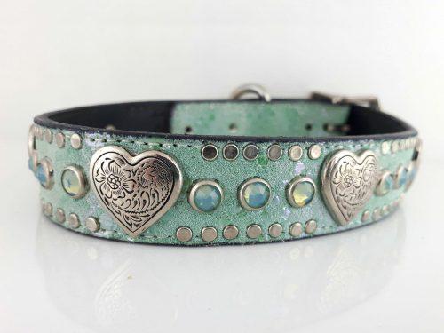 Dog Collar Heart & Crystal in aquamarine Italian leather and suede with sea foam Swarovski crystals