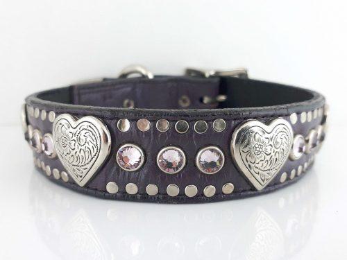 Dog Collar Heart & Crystal in eggplant Italian leather with light amethyst Swarovski crystals