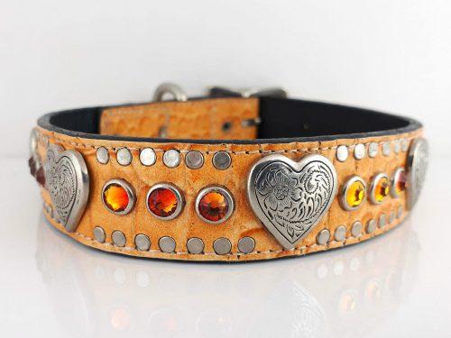 Dog Collar Heart & Crystal in orange kid skin Italian leather with fire opal Swarovski crystals