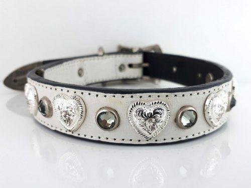Dog Collar Heart & Crystal in white Italian crocko leather with black diamond Swarovski crystals