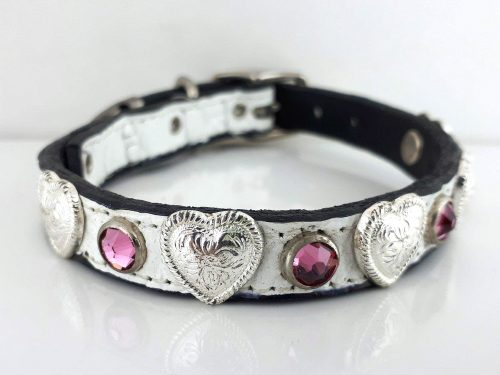 Dog Collar Heart & Crystal in white Italian crocko leather with rose Swarovski crystals