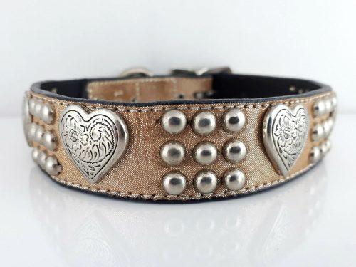 Dog Collar Heart & Heavy in champagne metallic Italian leather
