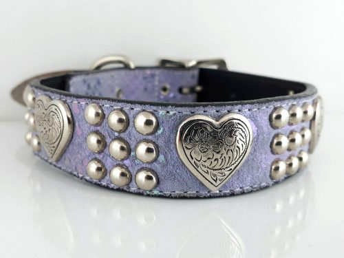 Dog Collar Heart & Heavy in Italian leather and lavender pearl suede