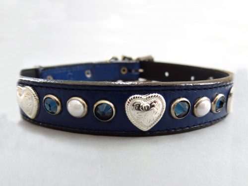 Dog Collar Heart, Pearl & Crystal in indigo Italian leather with Montana Swarovski crystals and white pearls