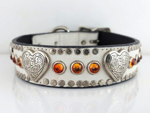 Dog Collar Heart & Crystal in white Italian crocko leather with fire opal Swarovski crystals