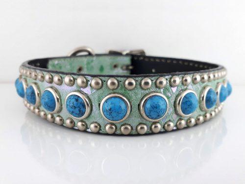 Dog Collar Jumbo Turquoise in Italian leather and aquamarine suede with blue jumbo turquoise