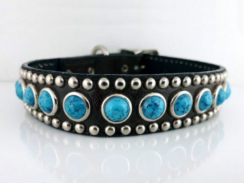 Dog collar Jumbo Turquoise in black Italian leather with blue jumbo turquoise