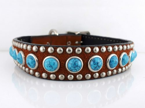 Dog Collar Jumbo Turquoise in Italian leather and rust suede with blue jumbo turquoise