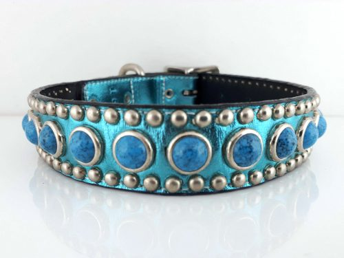 Dog Collar Jumbo Turquoise in turquoise metallic Italian leather with blue jumbo turquoise