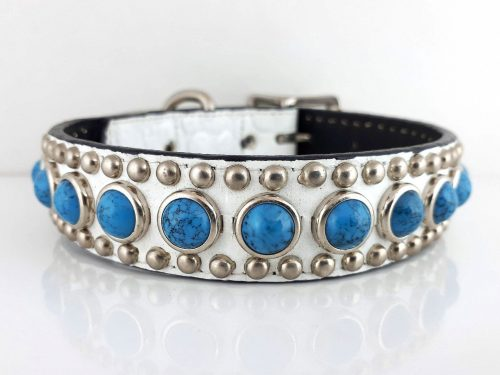 Dog Collar Jumbo Turquoise in white Italian crocko leather with blue jumbo turquoise
