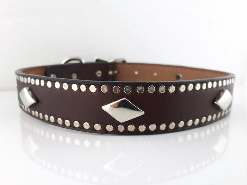 Dog Collar K9 Diamond in brown Italian leather