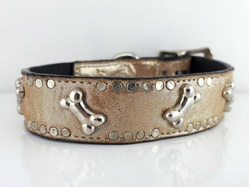Dog Collar K9 Side Bone in champagne metallic Italian leather