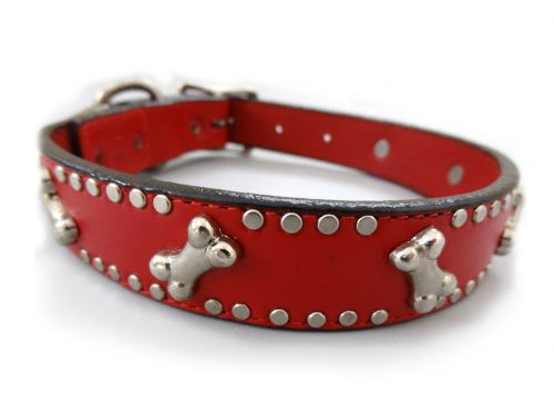 Dog Collar K9 Side Bone in red Italian leather