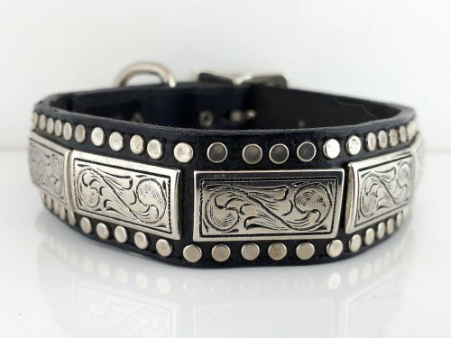 Dog collar K9 Square in black Italian leather