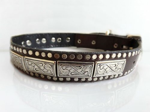 Dog Collar K9 Square in brown Italian leather