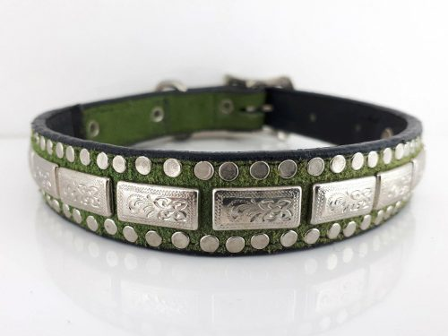 Dog Collar K9 Square in Italian leather and green suede