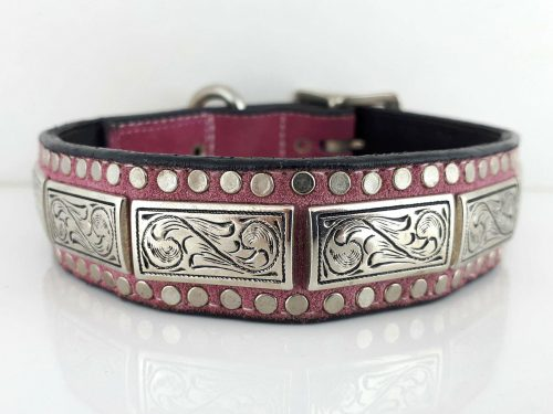 Dog Collar K9 Square in Italian leather and hot pink suede