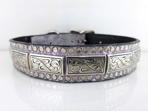 Dog Collar K9 Square in Italian leather and lavender pearl suede