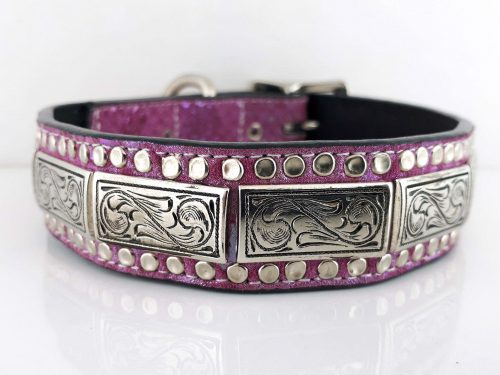 Dog Collar K9 Square in Italian leather and pearl pink suede