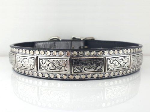 Dog collar K9 Square in pewter metallic Italian leather