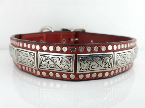 Dog Collar K9 Square in red Italian leather