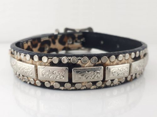 Dog Collar K9 Square in Italian leather and baby leopard cow hair from Brazil