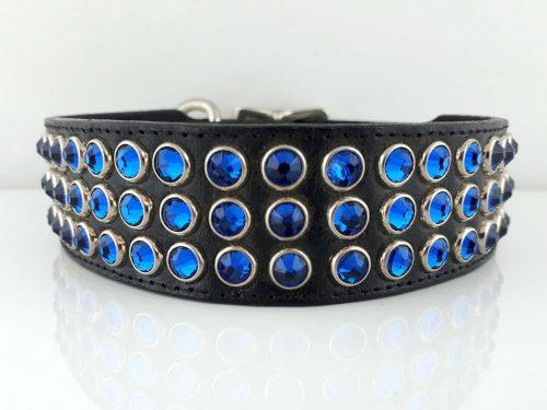 Dog collar Mucho in black Italian leather with Bermuda blue Swarovski crystals